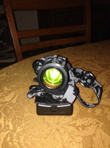 The final product. The LHB-1000 Headlamp with a green flip-cover filter.